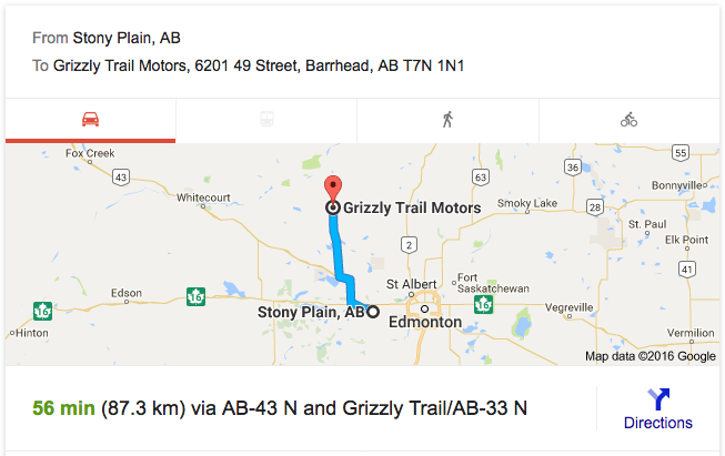directions from Stony Plain to Grizzly Trail Motors