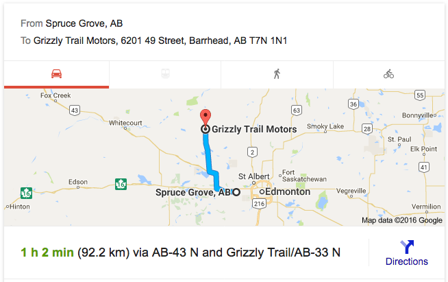 directions from Spruce Grove to Grizzly Trail Motors